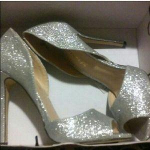 Shoes - Silver sparkle stilettos